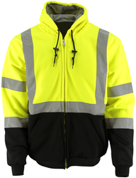#643 Hi-Vis Lime Hooded Fleece Jacket