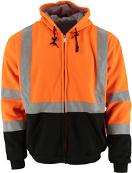 #644 Hi-Vis Orange Hooded Fleece Jacket